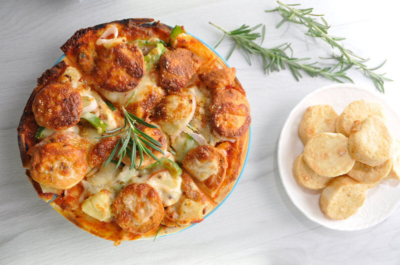 Cheese Tofu With Mixed Seafood Pizza