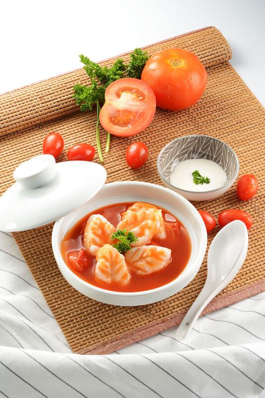 Tomato Bisque with Prawn Paste